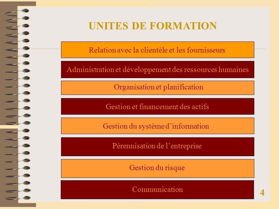 UNITES DE FORMATION 4 Relation avec la clientèle et les fournisseurs