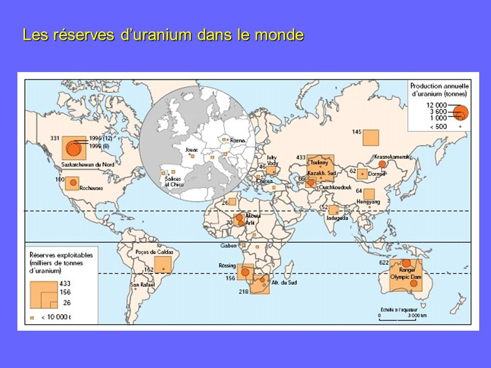 Les réserves d'uranium dans le monde