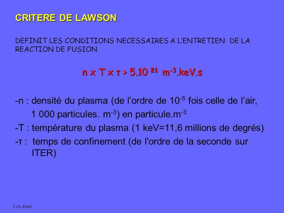 -n : densité du plasma (de l'ordre de 10-5 fois celle de l'air,