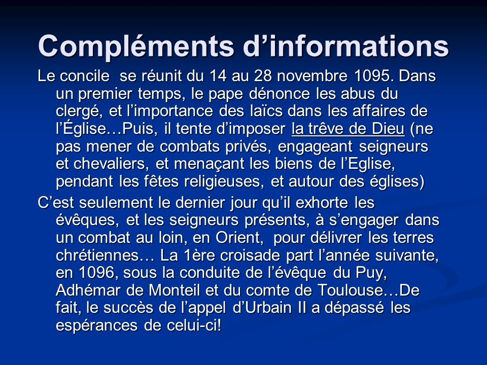 Compléments d'informations
