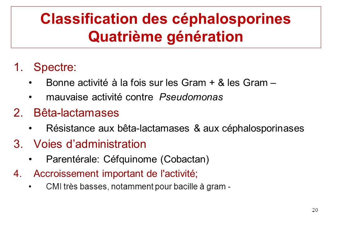 Classification des céphalosporines Quatrième génération