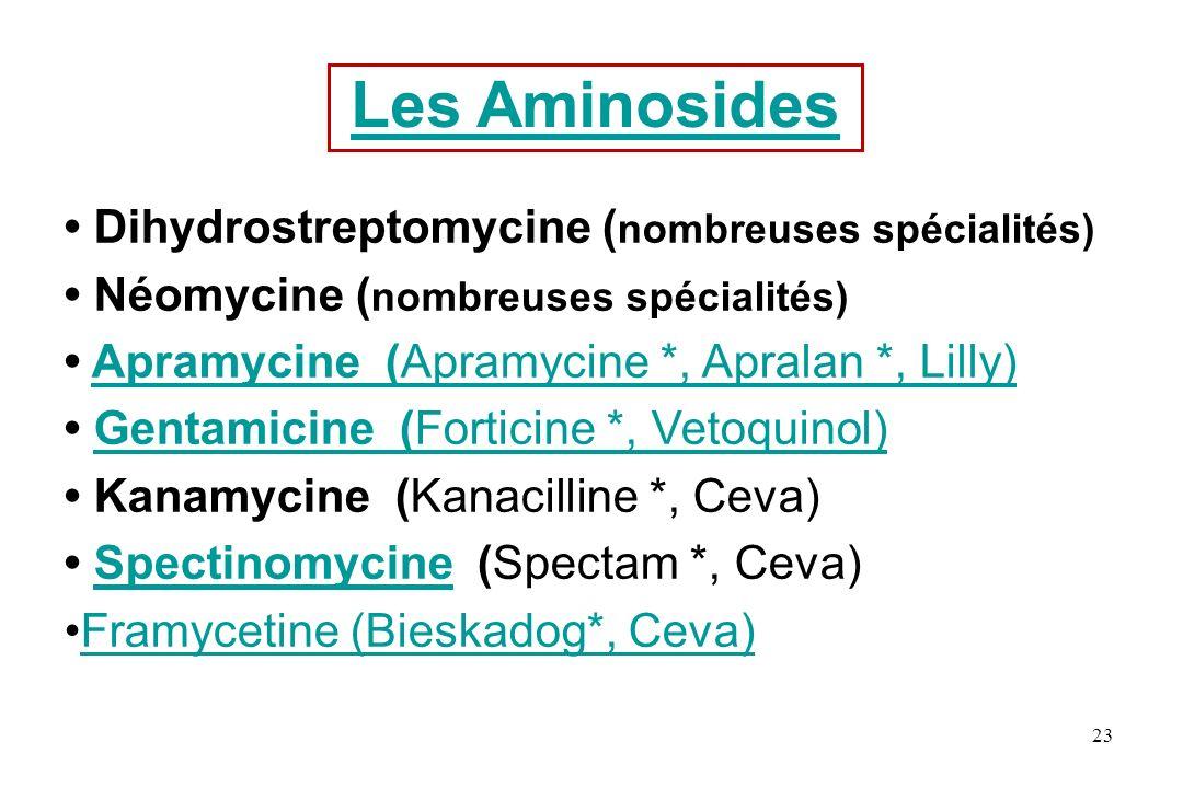 Les Aminosides • Dihydrostreptomycine (nombreuses spécialités)
