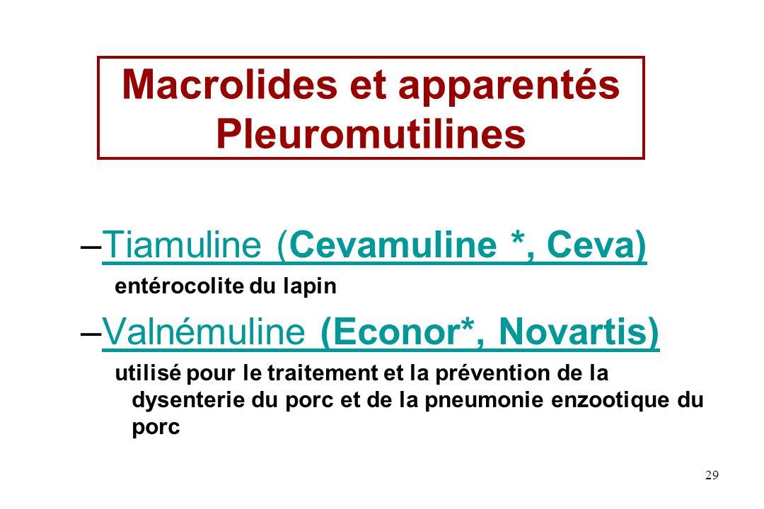 Macrolides et apparentés Pleuromutilines