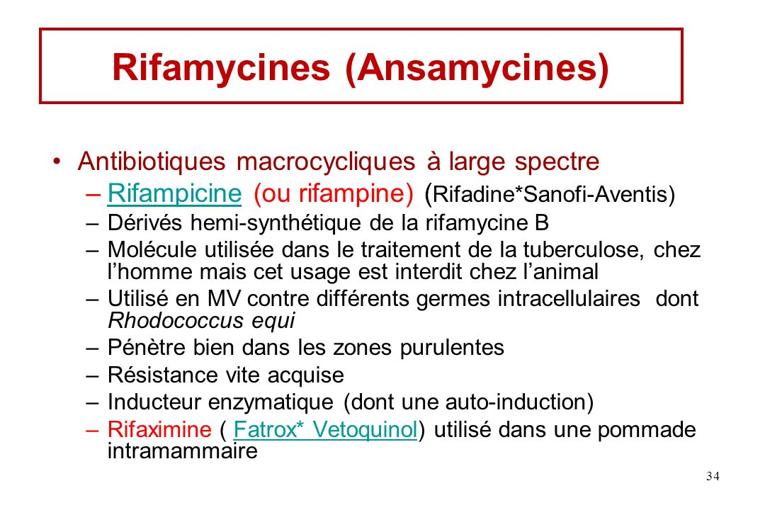 Rifamycines (Ansamycines)