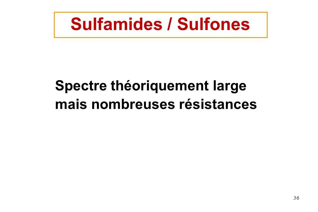 Sulfamides / Sulfones Spectre théoriquement large mais nombreuses résistances
