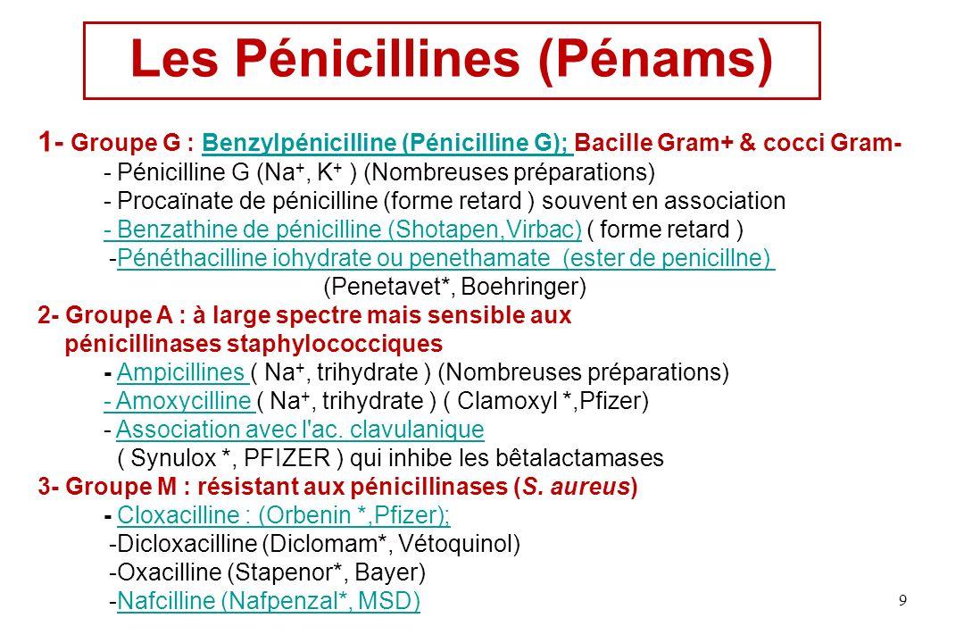 Les Pénicillines (Pénams)