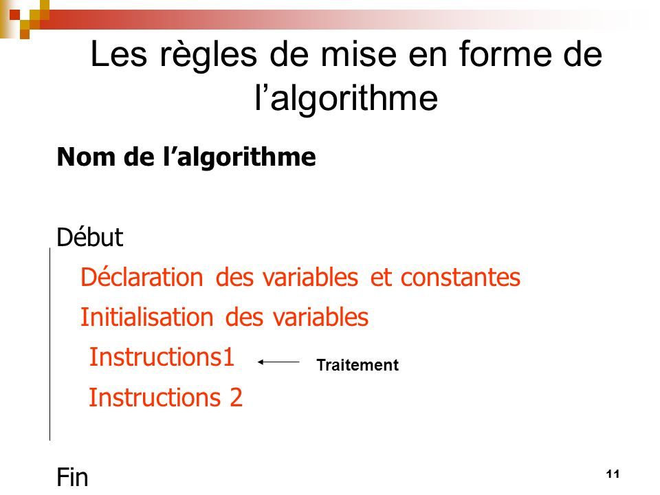 Les règles de mise en forme de l'algorithme