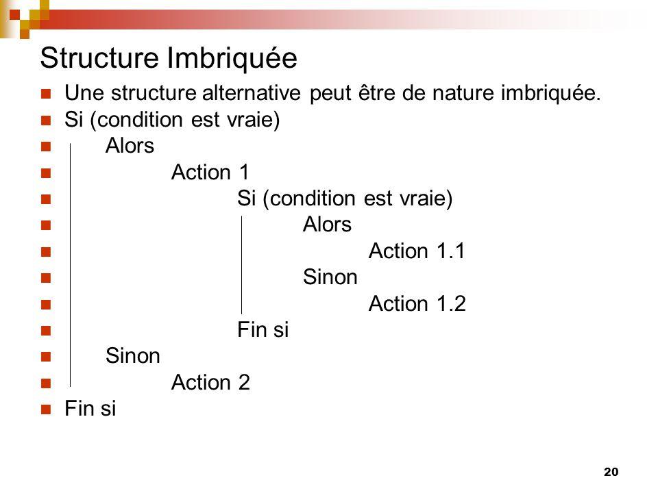 Structure Imbriquée Une structure alternative peut être de nature imbriquée. Si (condition est vraie)