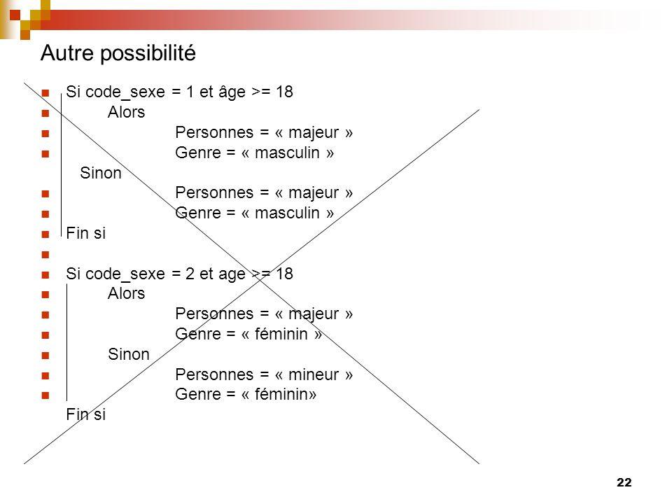 Autre possibilité Si code_sexe = 1 et âge >= 18 Alors