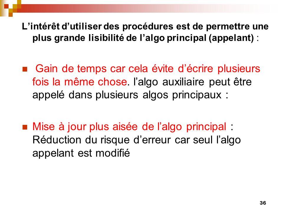 L'intérêt d'utiliser des procédures est de permettre une plus grande lisibilité de l'algo principal (appelant) :