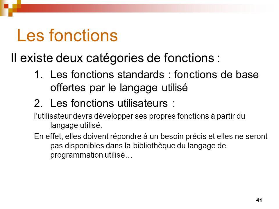 Les fonctions Il existe deux catégories de fonctions :