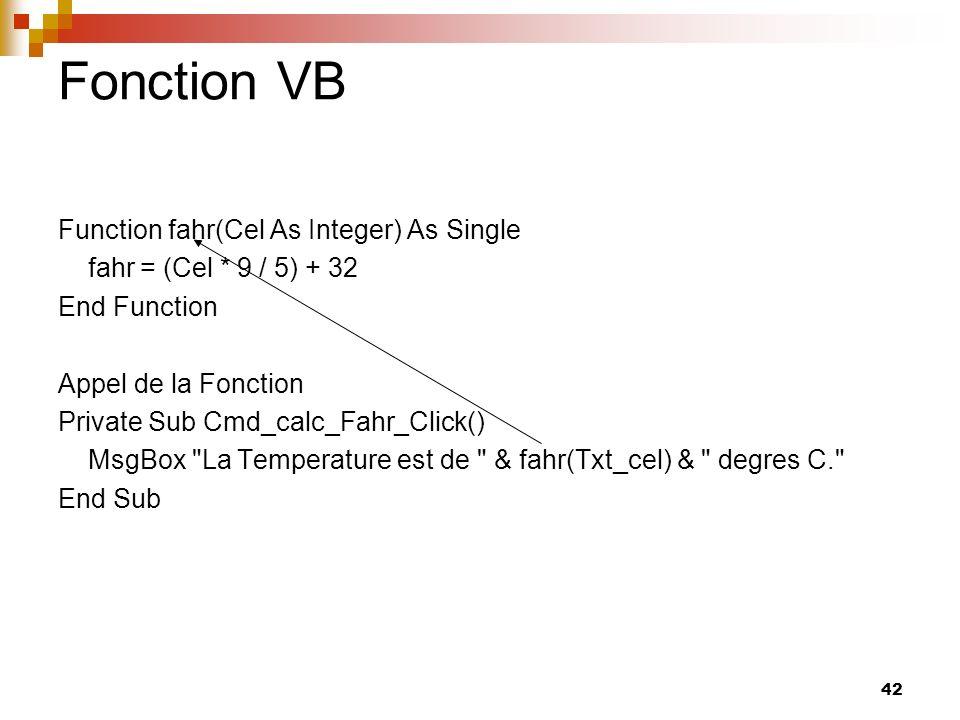 Fonction VB Function fahr(Cel As Integer) As Single