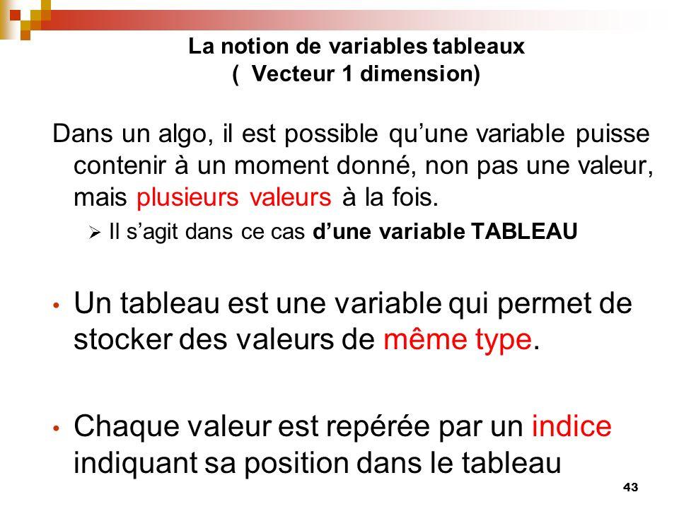 La notion de variables tableaux ( Vecteur 1 dimension)