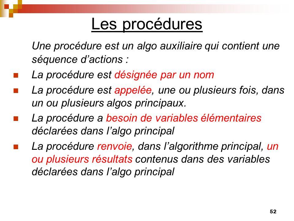 Les procédures Une procédure est un algo auxiliaire qui contient une séquence d'actions : La procédure est désignée par un nom.