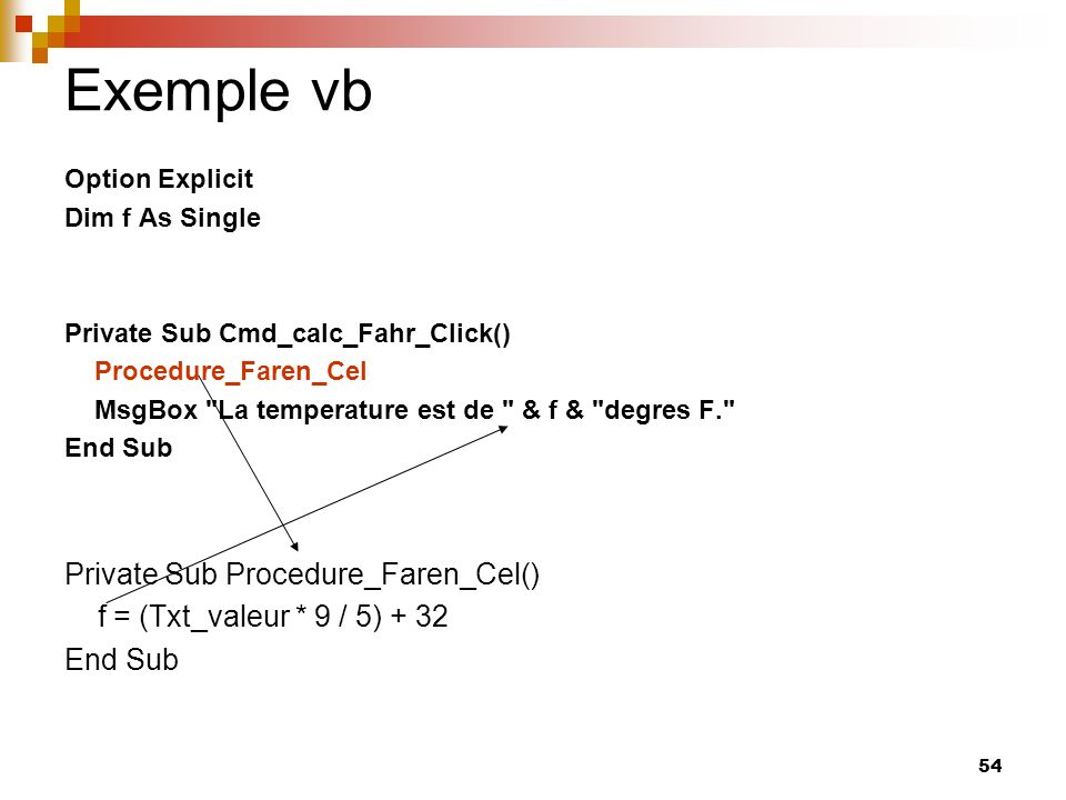 Exemple vb Private Sub Procedure_Faren_Cel()