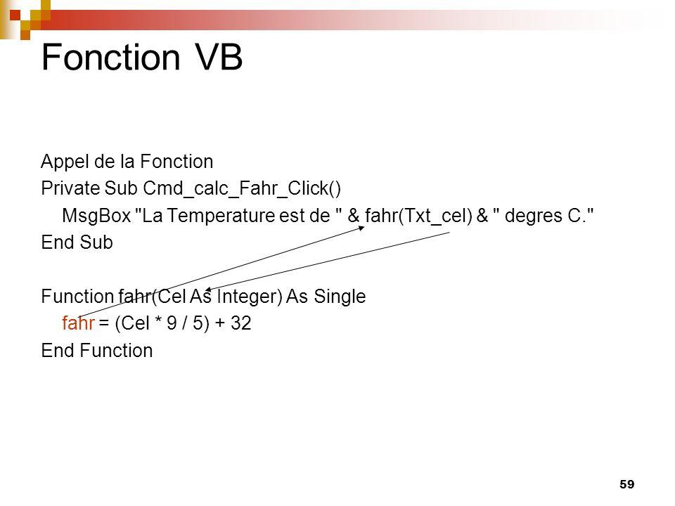 Fonction VB Appel de la Fonction Private Sub Cmd_calc_Fahr_Click()