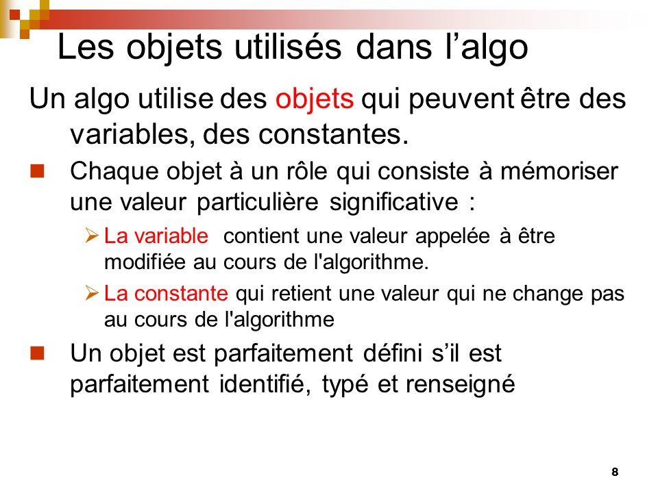 Les objets utilisés dans l'algo