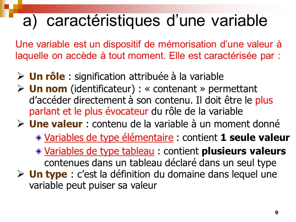 a) caractéristiques d'une variable
