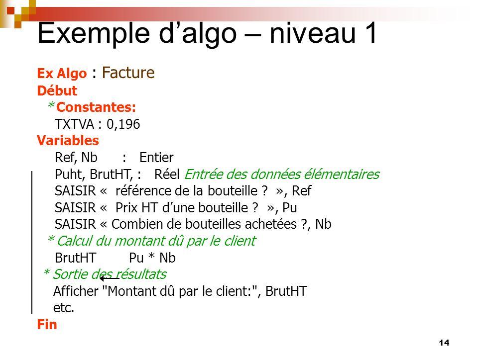 Exemple d'algo – niveau 1