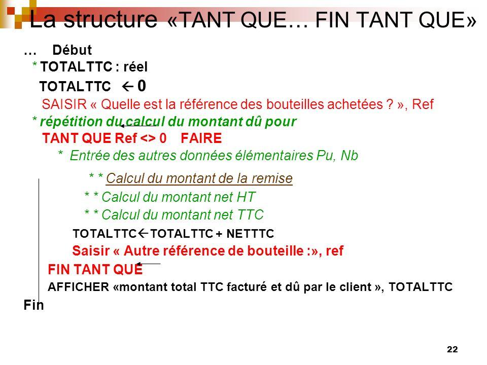 La structure «TANT QUE… FIN TANT QUE»