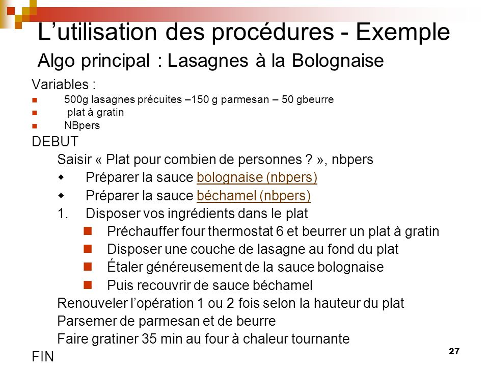 L'utilisation des procédures - Exemple