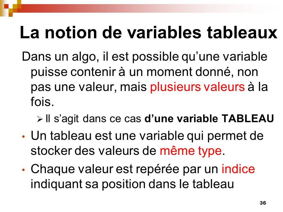 La notion de variables tableaux