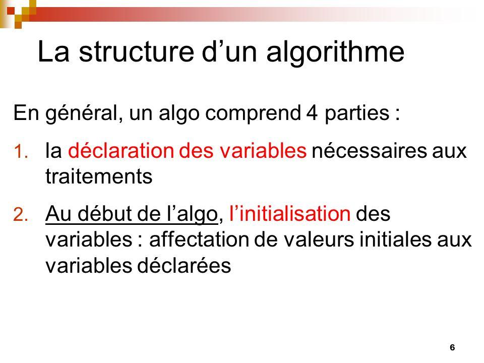 La structure d'un algorithme
