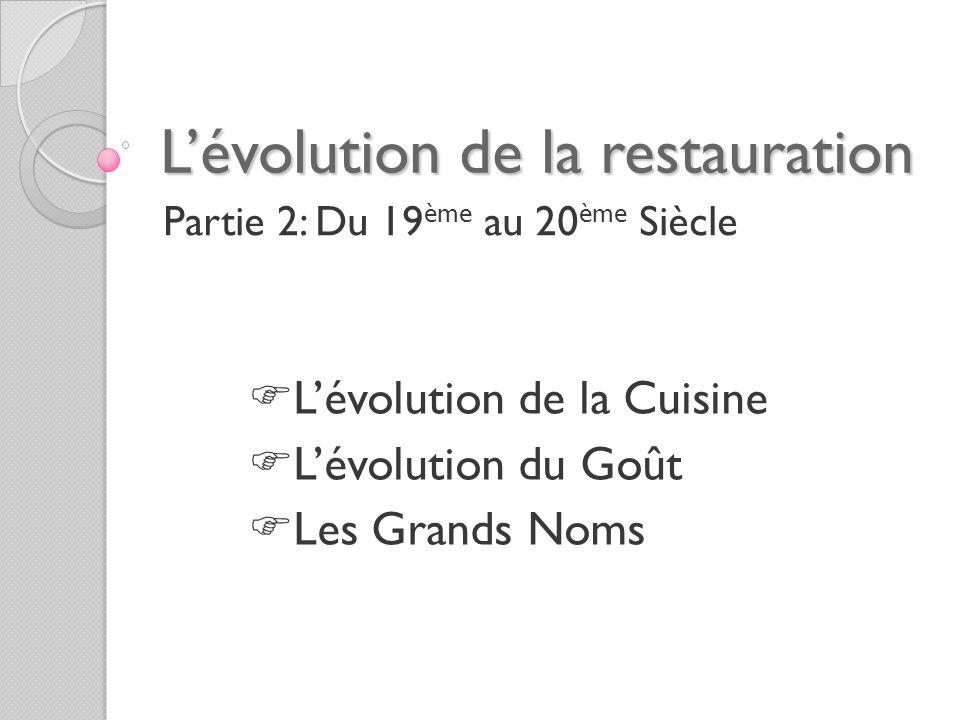 L'évolution de la restauration