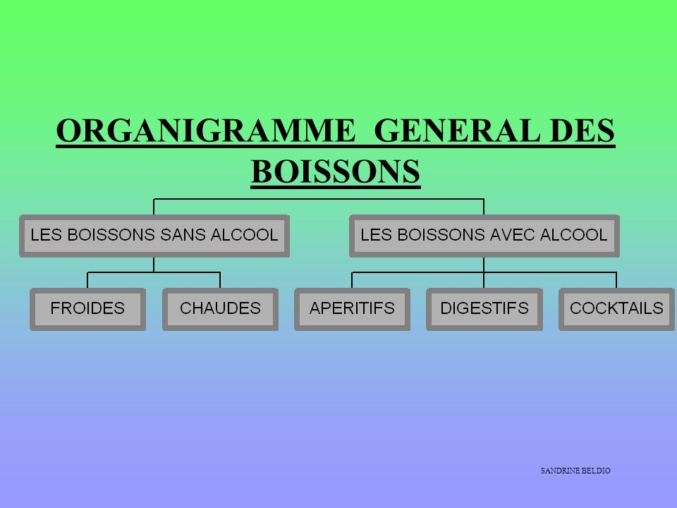 ORGANIGRAMME GENERAL DES BOISSONS