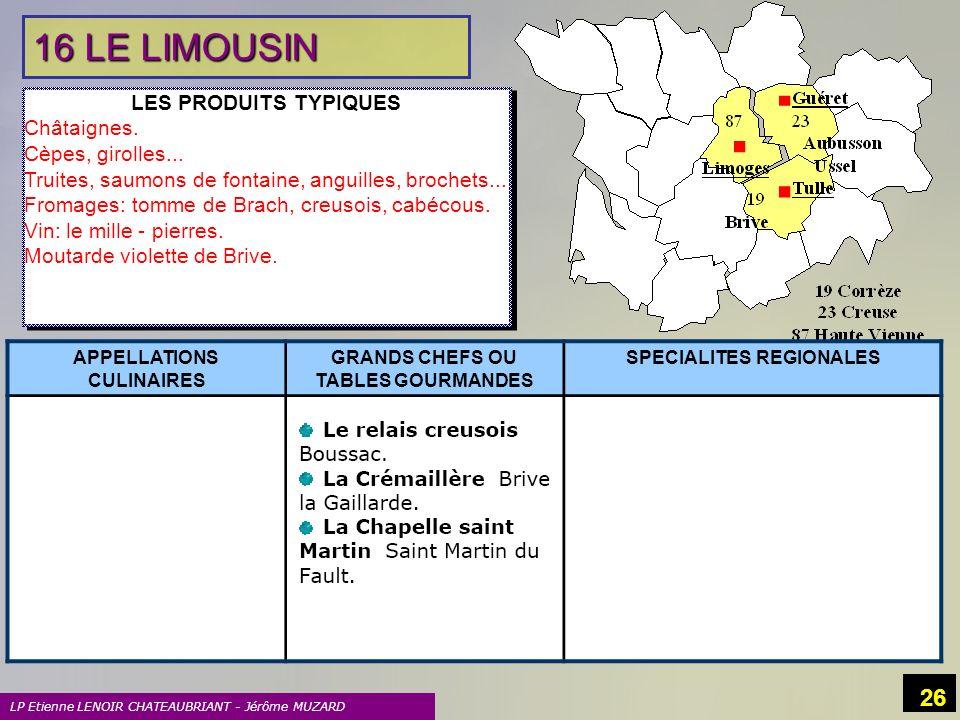 16 LE LIMOUSIN LES PRODUITS TYPIQUES Châtaignes. Cèpes, girolles...