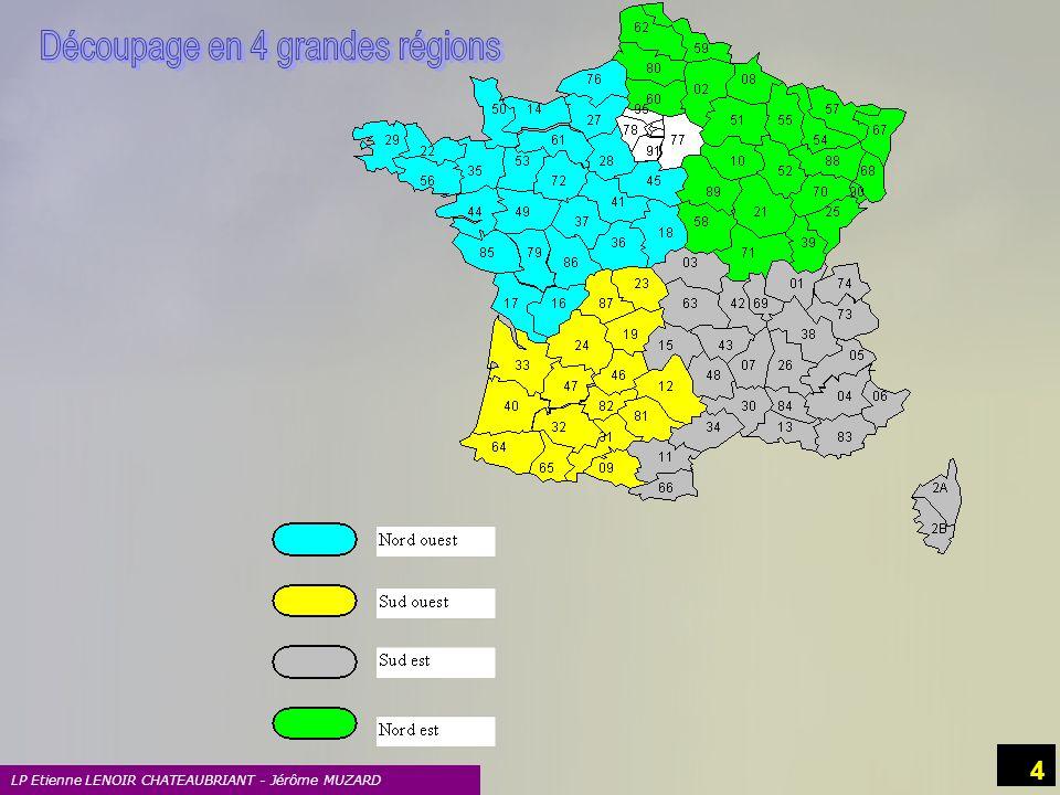 Découpage en 4 grandes régions