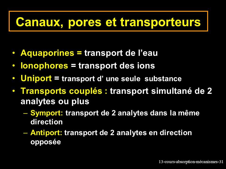 Canaux, pores et transporteurs