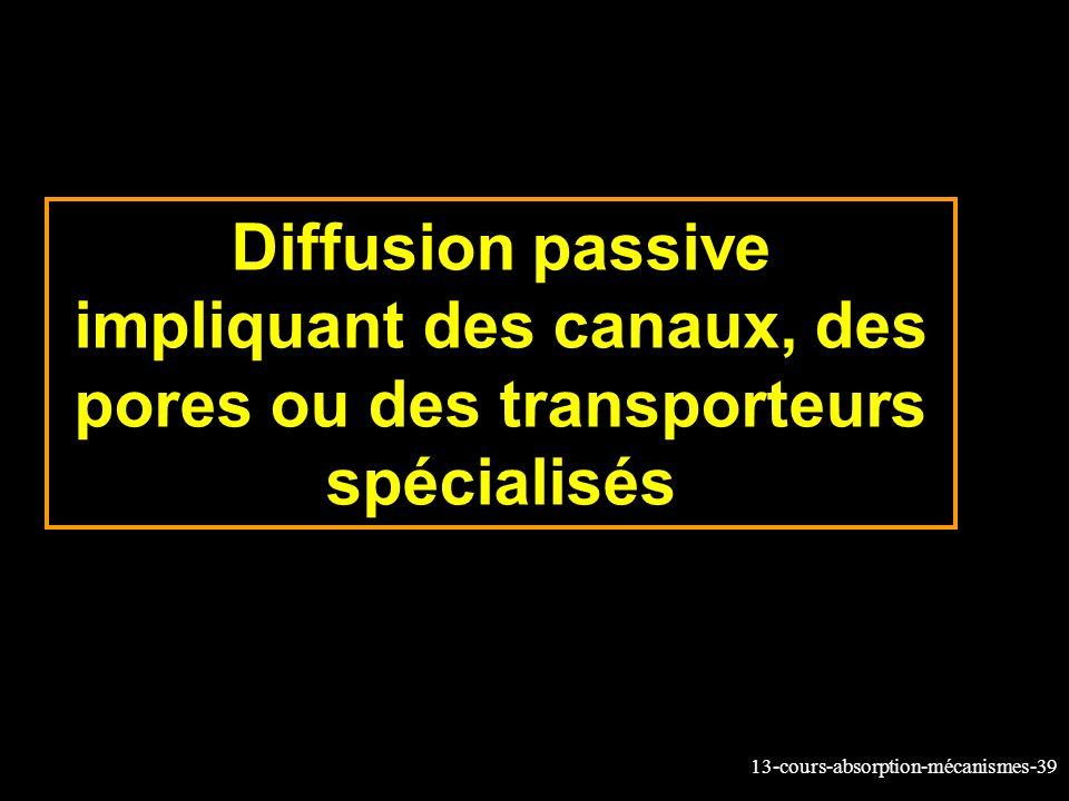 Diffusion passive impliquant des canaux, des pores ou des transporteurs spécialisés