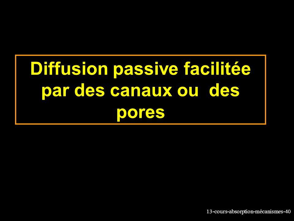 Diffusion passive facilitée par des canaux ou des pores