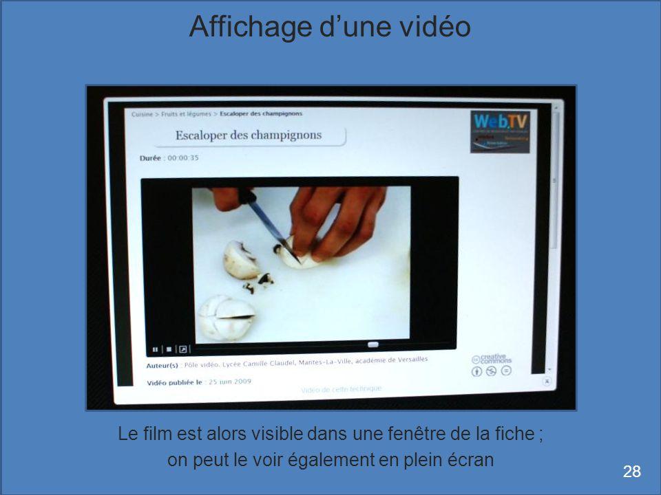Affichage d'une vidéo Le film est alors visible dans une fenêtre de la fiche ; on peut le voir également en plein écran.