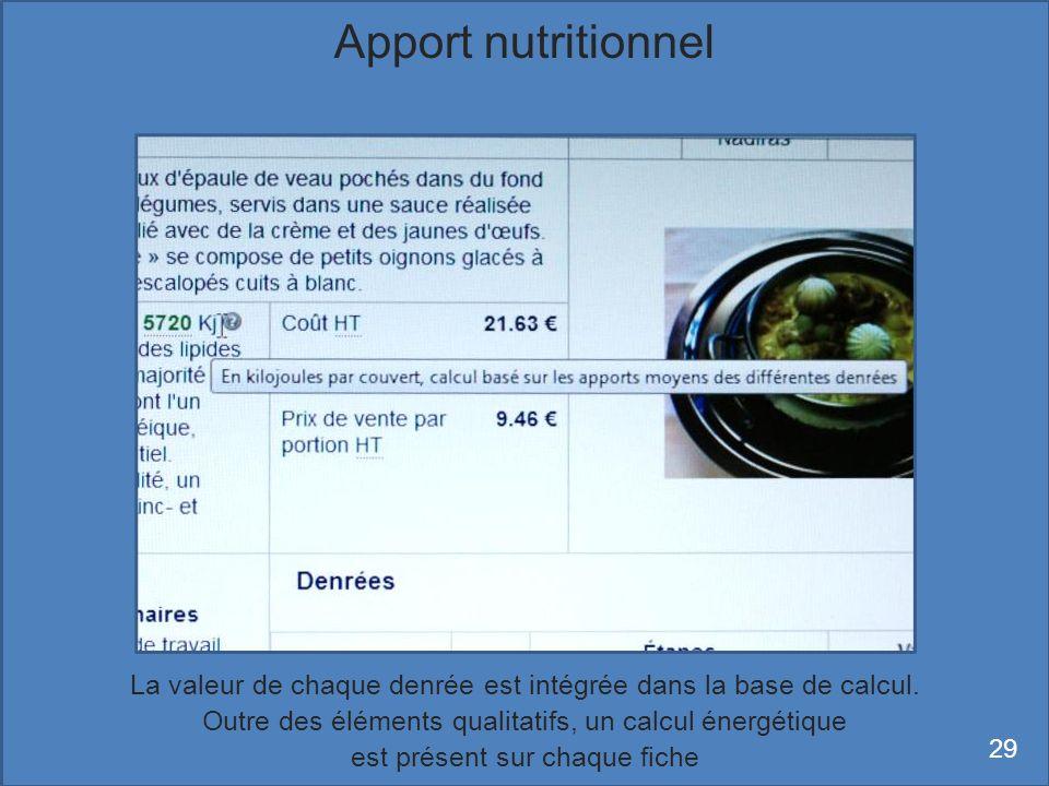 Apport nutritionnel La valeur de chaque denrée est intégrée dans la base de calcul. Outre des éléments qualitatifs, un calcul énergétique.