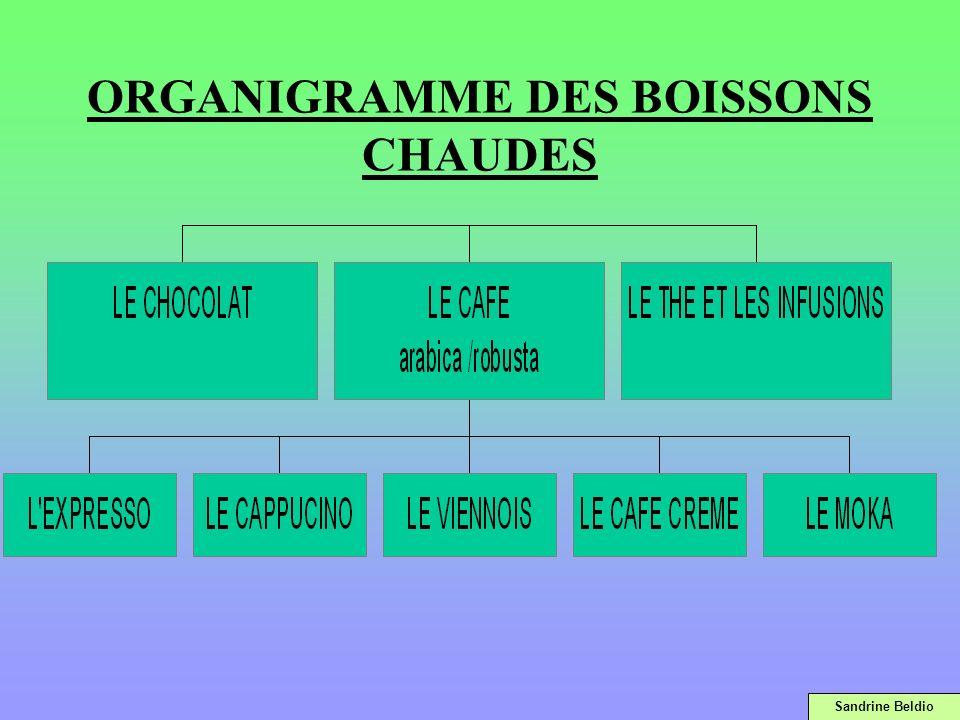 ORGANIGRAMME DES BOISSONS CHAUDES