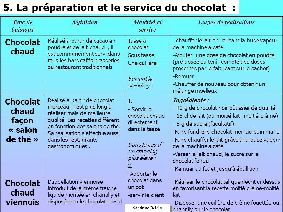 5. La préparation et le service du chocolat :