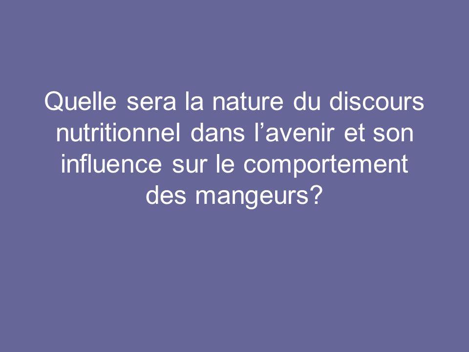 Quelle sera la nature du discours nutritionnel dans l'avenir et son influence sur le comportement des mangeurs