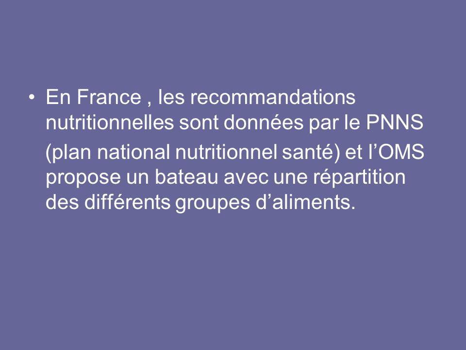 En France , les recommandations nutritionnelles sont données par le PNNS