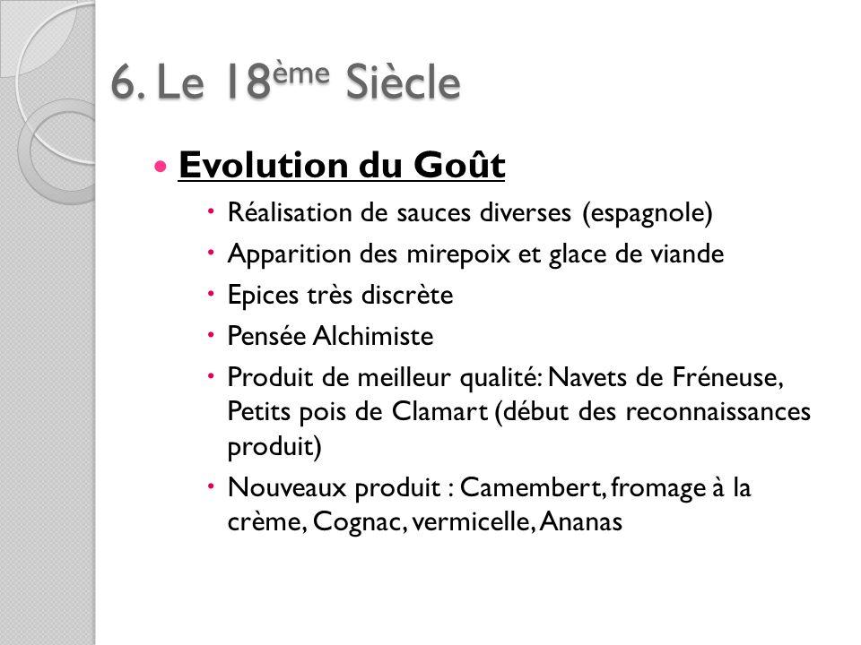 6. Le 18ème Siècle Evolution du Goût