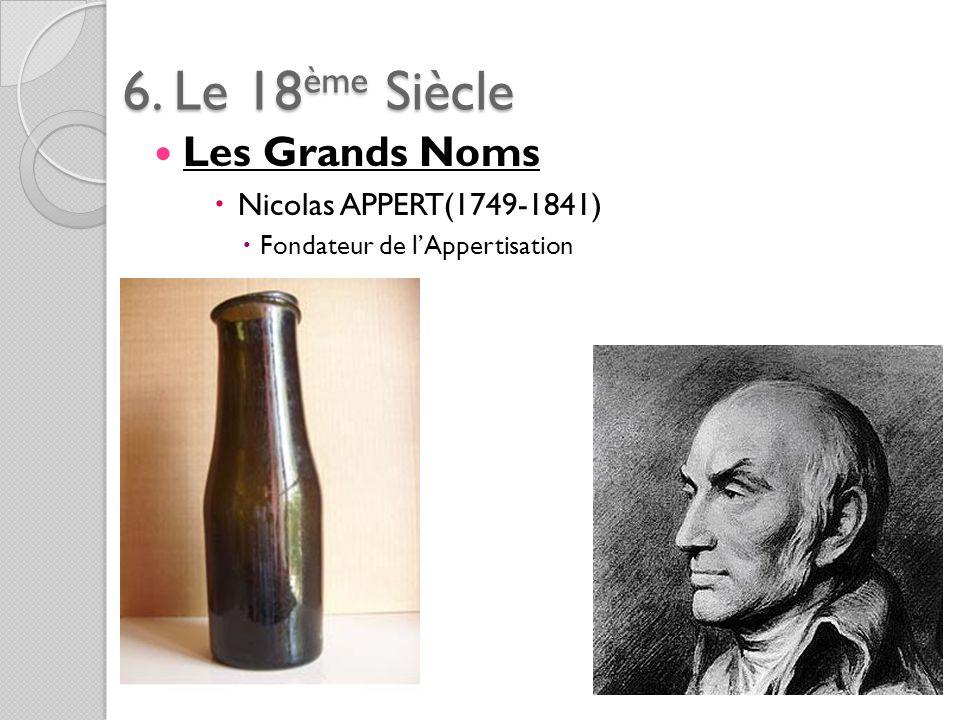 6. Le 18ème Siècle Les Grands Noms Nicolas APPERT(1749-1841)
