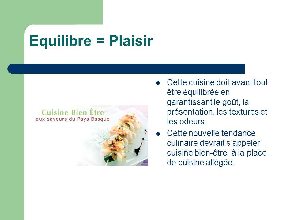 Equilibre = Plaisir Cette cuisine doit avant tout être équilibrée en garantissant le goût, la présentation, les textures et les odeurs.