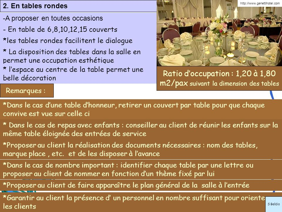 2. En tables rondes http://www.genettihotel.com. A proposer en toutes occasions. - En table de 6,8,10,12,15 couverts.