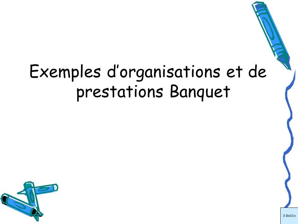 Exemples d'organisations et de prestations Banquet
