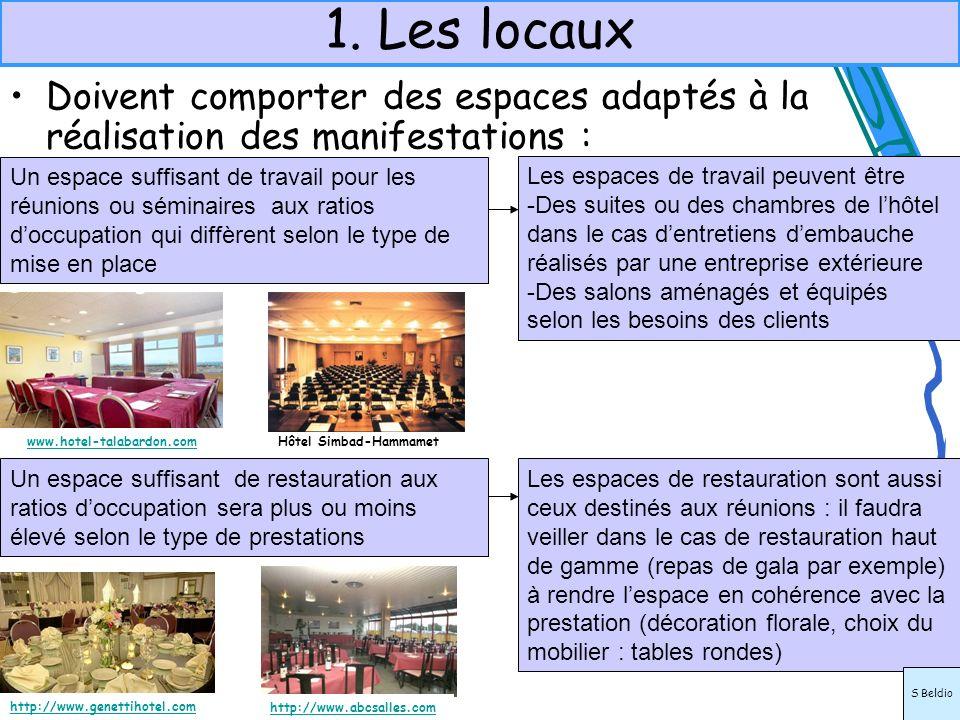 1. Les locauxDoivent comporter des espaces adaptés à la réalisation des manifestations :