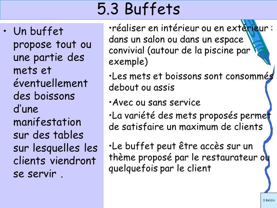 5.3 Buffets réaliser en intérieur ou en extérieur : dans un salon ou dans un espace convivial (autour de la piscine par exemple)
