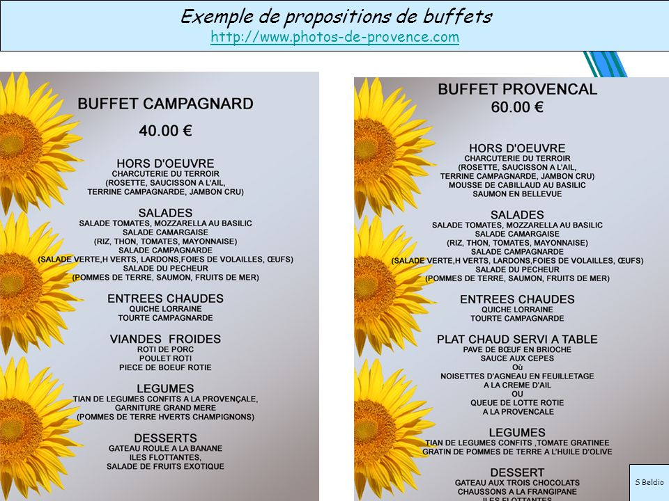 Exemple de propositions de buffets