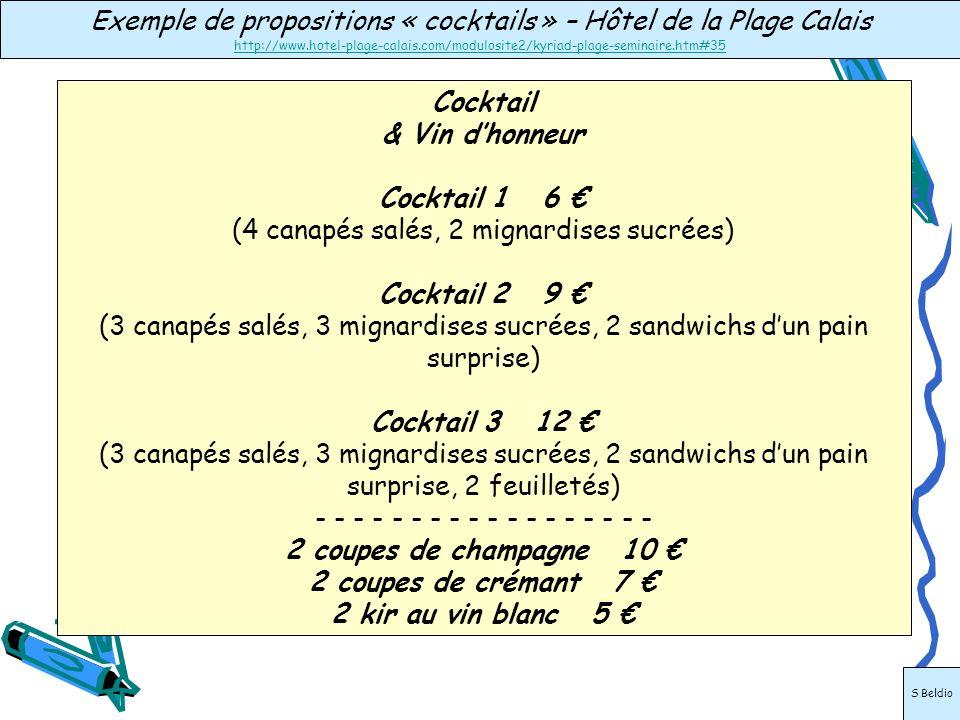 Exemple de propositions « cocktails » – Hôtel de la Plage Calais