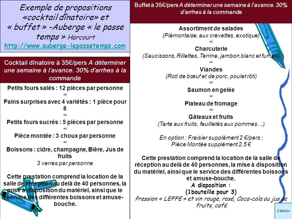 Exemple de propositions «cocktail dînatoire» et « buffet » -Auberge « le passe temps » Harcourt http://www.auberge-lepassetemps.com